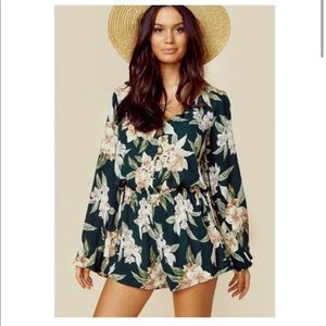 Show me your mumu green floral romper long sleeves